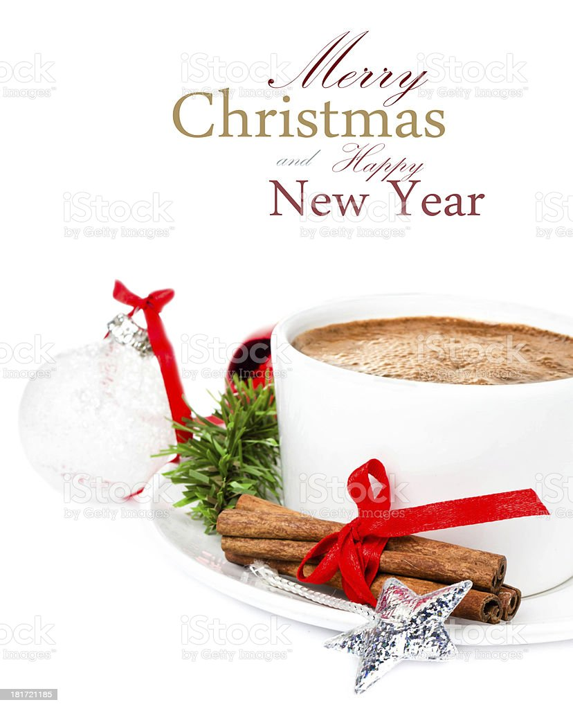 Christmas composition with  cup of Hot Chocolate, royalty-free stock photo