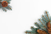 istock Christmas composition with fir tree branches and cones on white. 1274038462