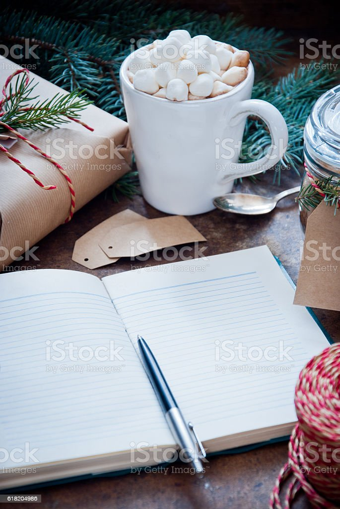 Christmas Composition with Notebook stock photo