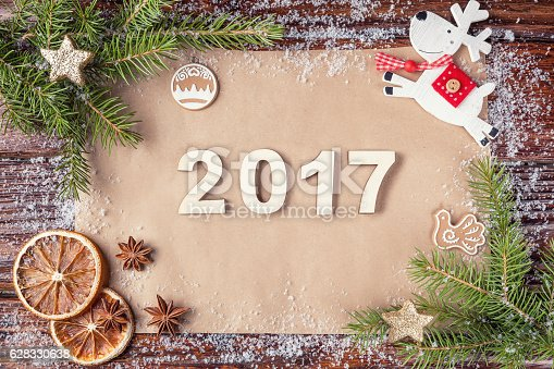 636659848 istock photo Christmas composition with number of year 2017 628330638