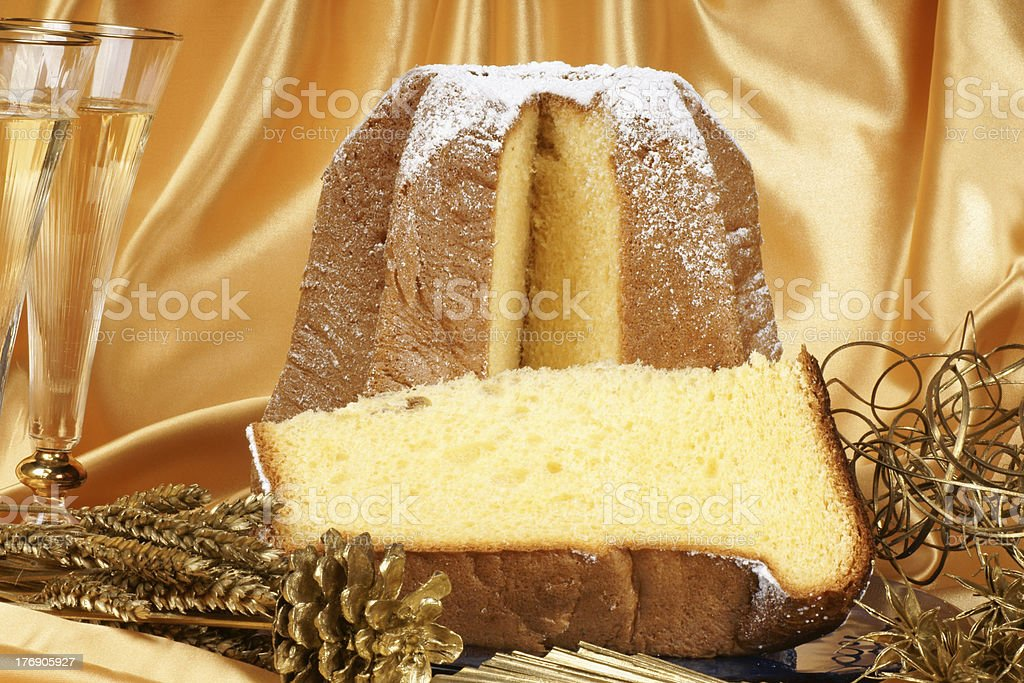Christmas composition with Pandoro and spumante royalty-free stock photo