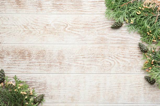 jul komposition med tall koner, gran grenar på trä beige bakgrund. flat lay, topputsikt - cozy at christmas bildbanksfoton och bilder