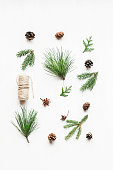 Christmas composition with pine cones, fir branches. Christmas pattern. Top view, flat lay