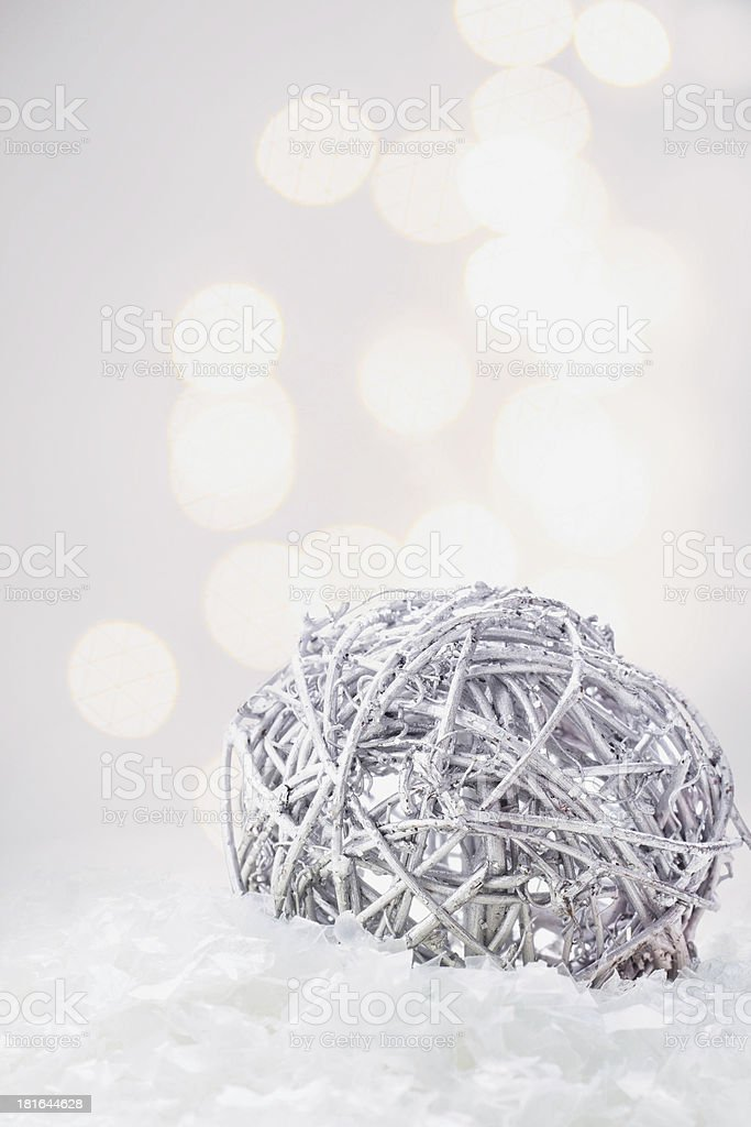 Christmas composition with silver ball and snow royalty-free stock photo