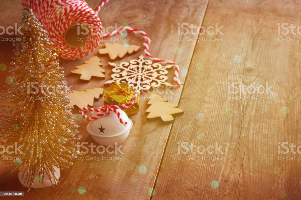 Christmas concept. Decorative tree next to decorations stock photo