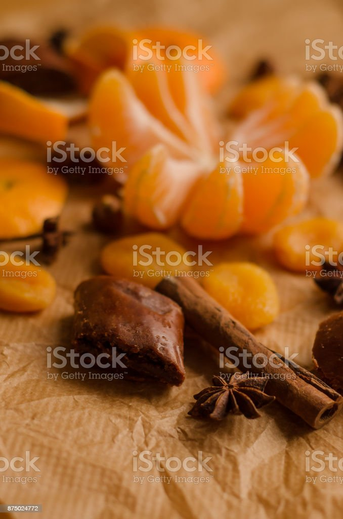 christmas  concept  - mandarin  and spices stock photo