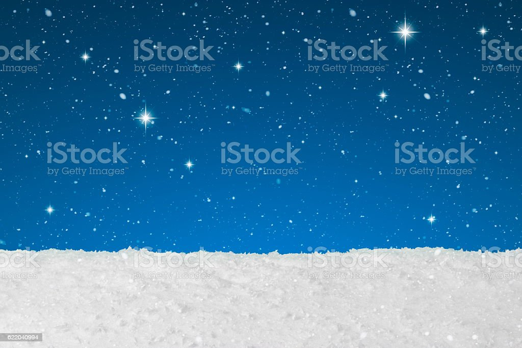 Christmas concept showing snow falling stock photo