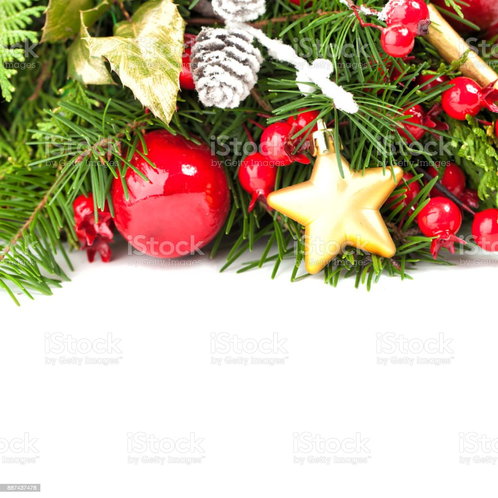 christmas concept with red christmas balls green fir gold xmas decor on white background