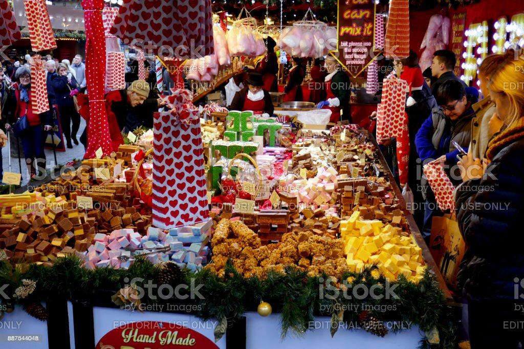 Christmas Confectionery stall. stock photo