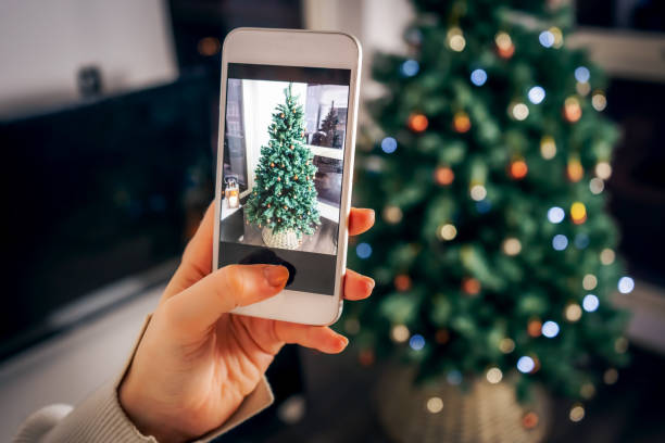 Christmas Content for Social Media stock photo