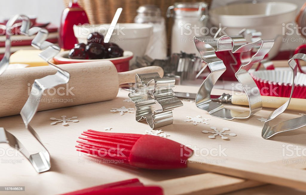 Christmas cookie cooking scene. royalty-free stock photo