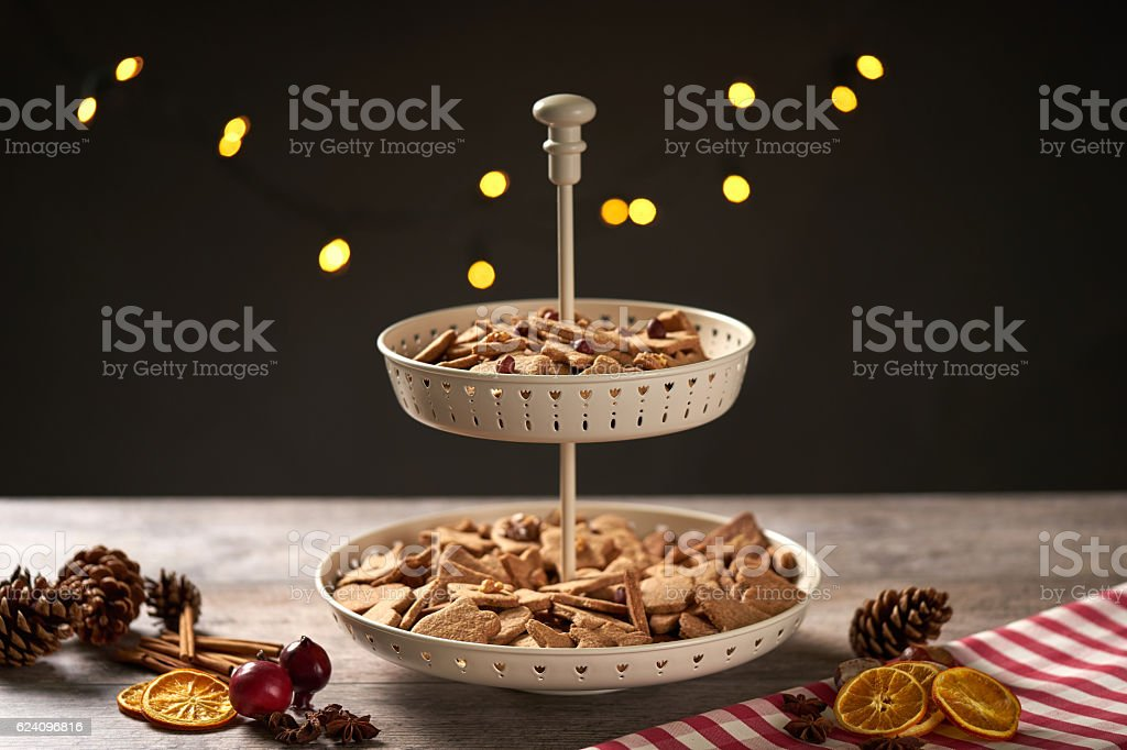 Christmas Cookie Etagere with moody light and background Illumination stock photo