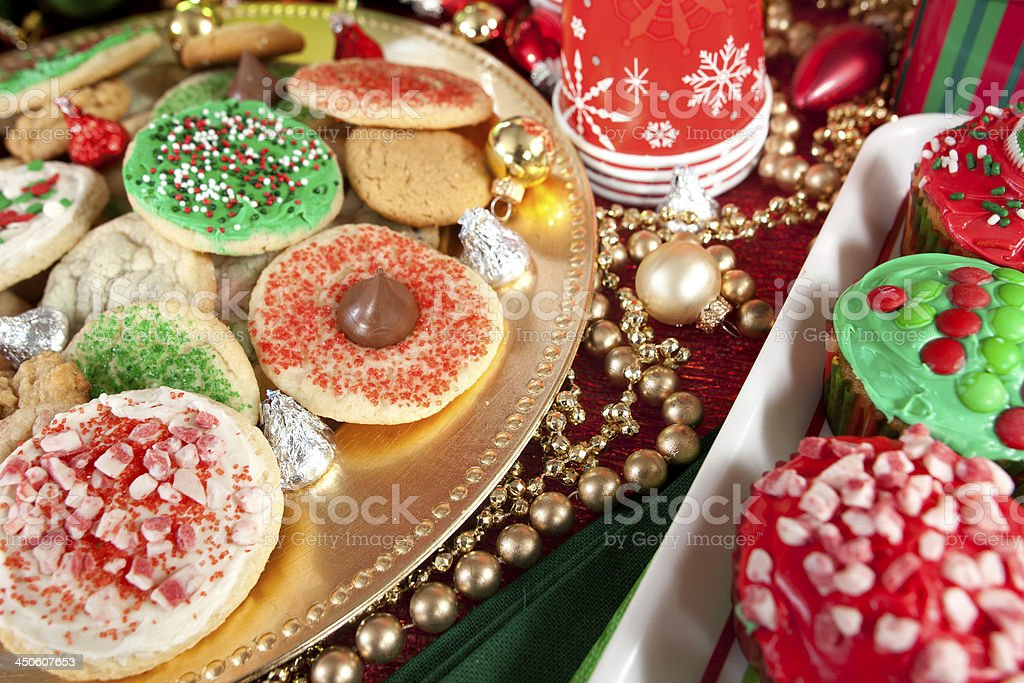 Christmas Cookie Trays.Christmas Cookie Variety On Serving Trays Stock Photo