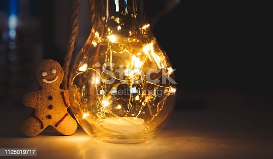istock Christmas cookie with new year led lights 1125019717