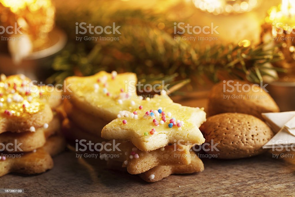 christmas cookies and almonds royalty-free stock photo