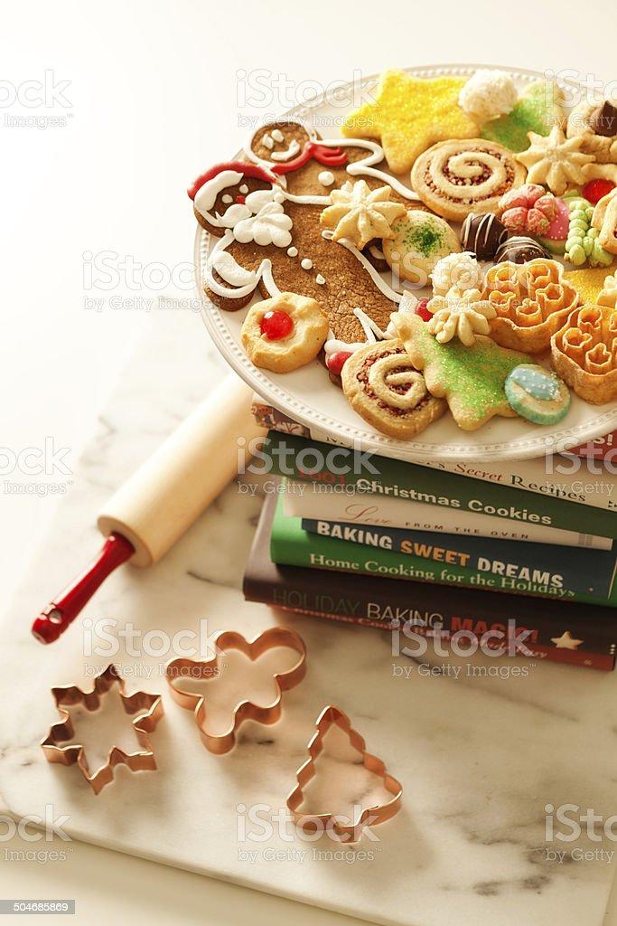 Ricette Sul Natale.Natale Biscotti E Libri Di Ricette Sul Tavolo Di Cucina