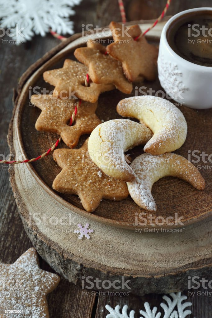 Christmas cookies and cup of coffee stock photo