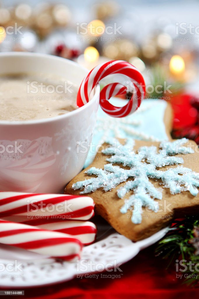 Christmas- cookies and hot chocolate royalty-free stock photo