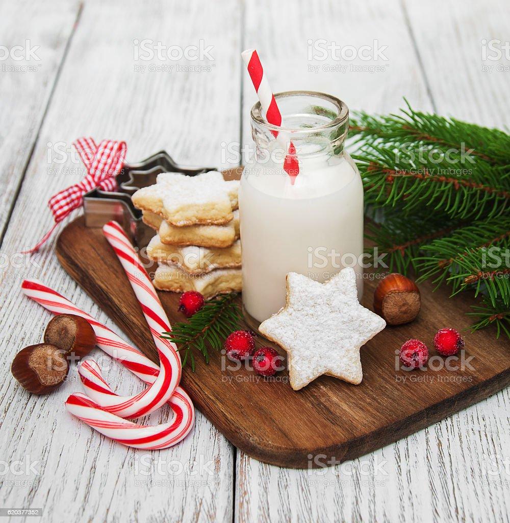 Natal Biscoitos e leite foto de stock royalty-free