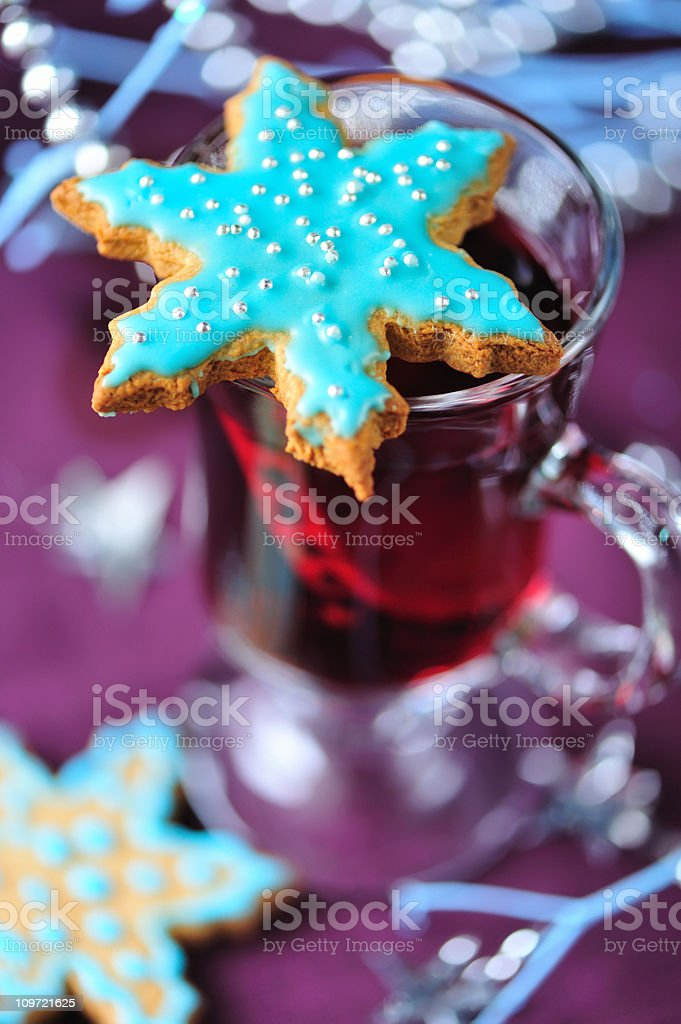 Christmas Cookies and Mulled Wine royalty-free stock photo