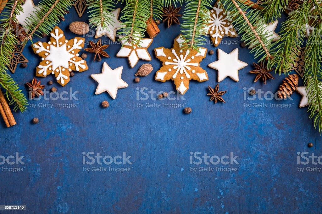 Christmas Cookies Border Background stock photo