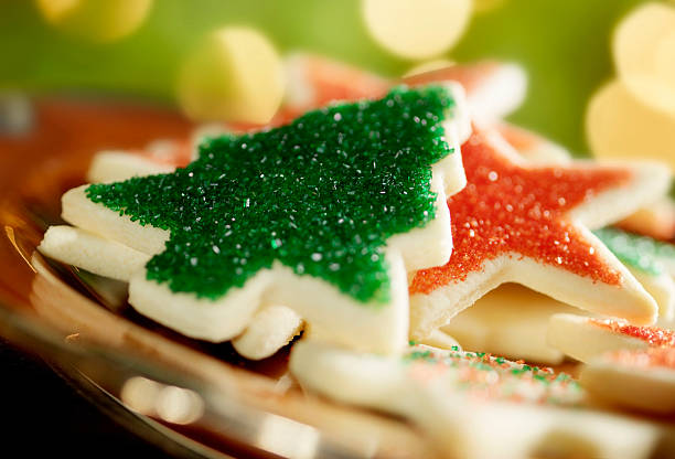 Christmas Cookies by the Tree  sugar cookie stock pictures, royalty-free photos & images