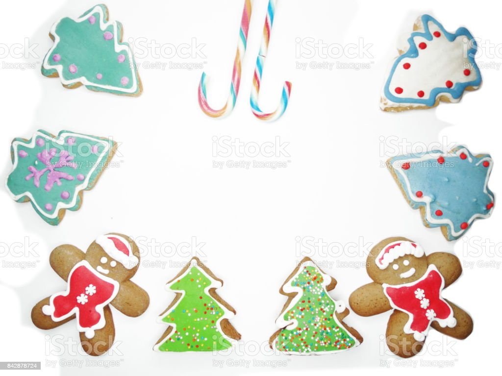 Christmas Cookies Gingerbread Food Decoration On White Background ...