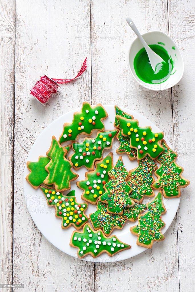 Christmas Cookies Glazed Christmas Tree Shape On A Plate Stock Photo