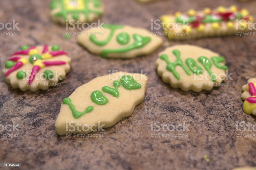 Christmas Cookies of Love, Hope, and Joy royalty-free stock photo