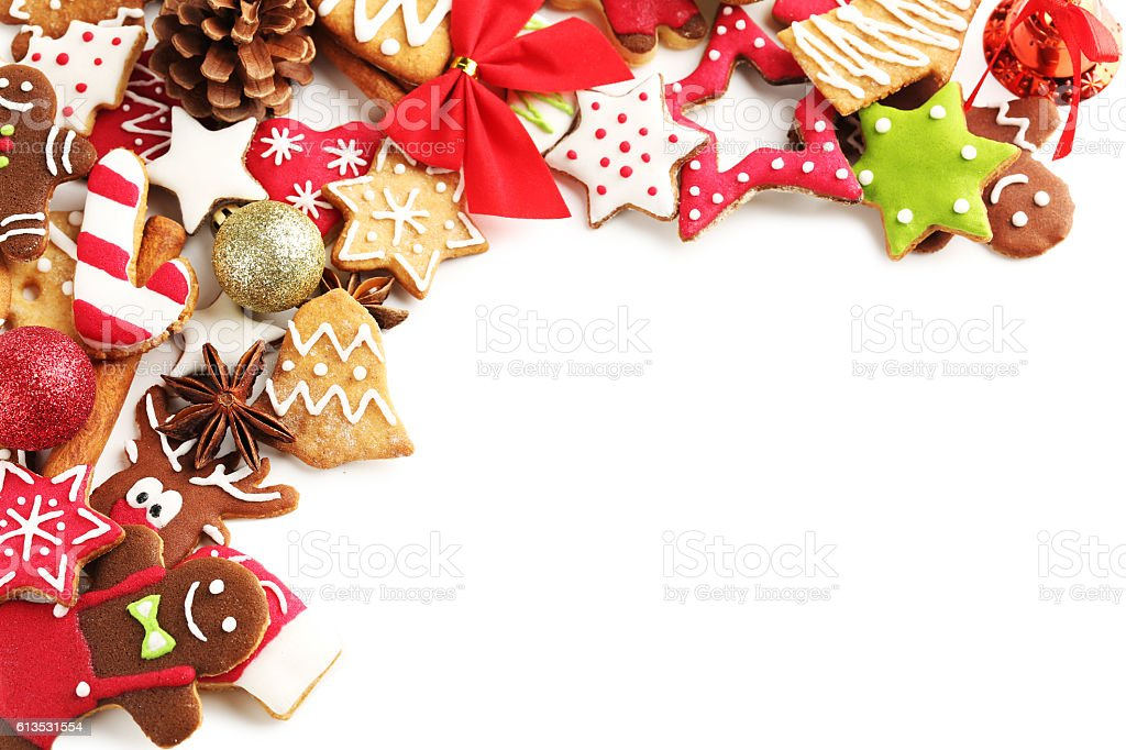 Christmas cookies on a white background stock photo