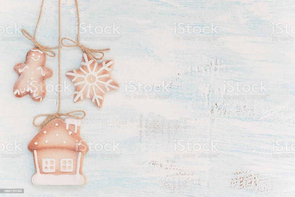 Christmas cookies on a wooden background stock photo