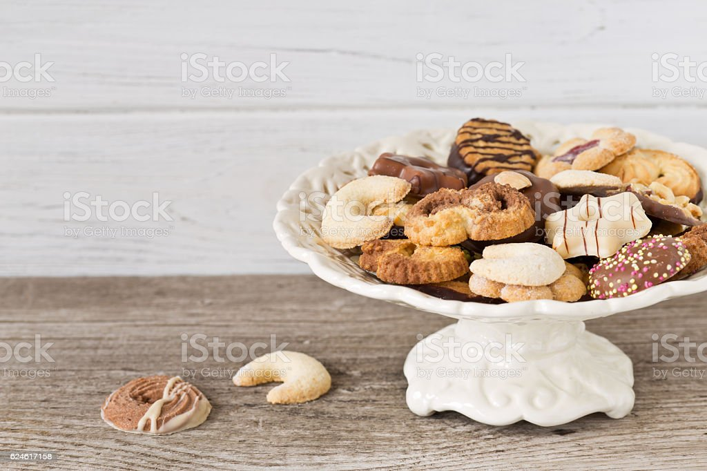 Christmas cookies on an etagere stock photo