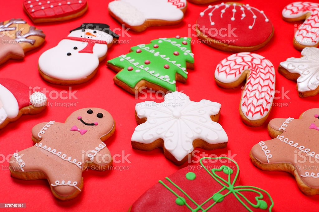 Christmas Cookies On Red Background Top View Various Types Christmas