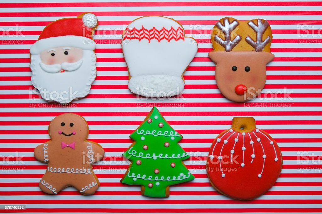 Christmas Cookies On Stripe Background Top View Various Types