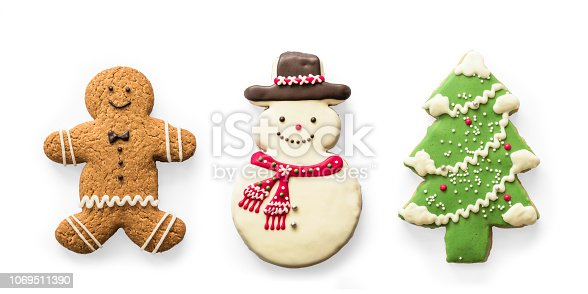 istock Christmas cookies, snowman, X'mas tree, gingerbread isolated on white background with clipping path for Xmas party holiday homemade  food design decoration template 1069511390