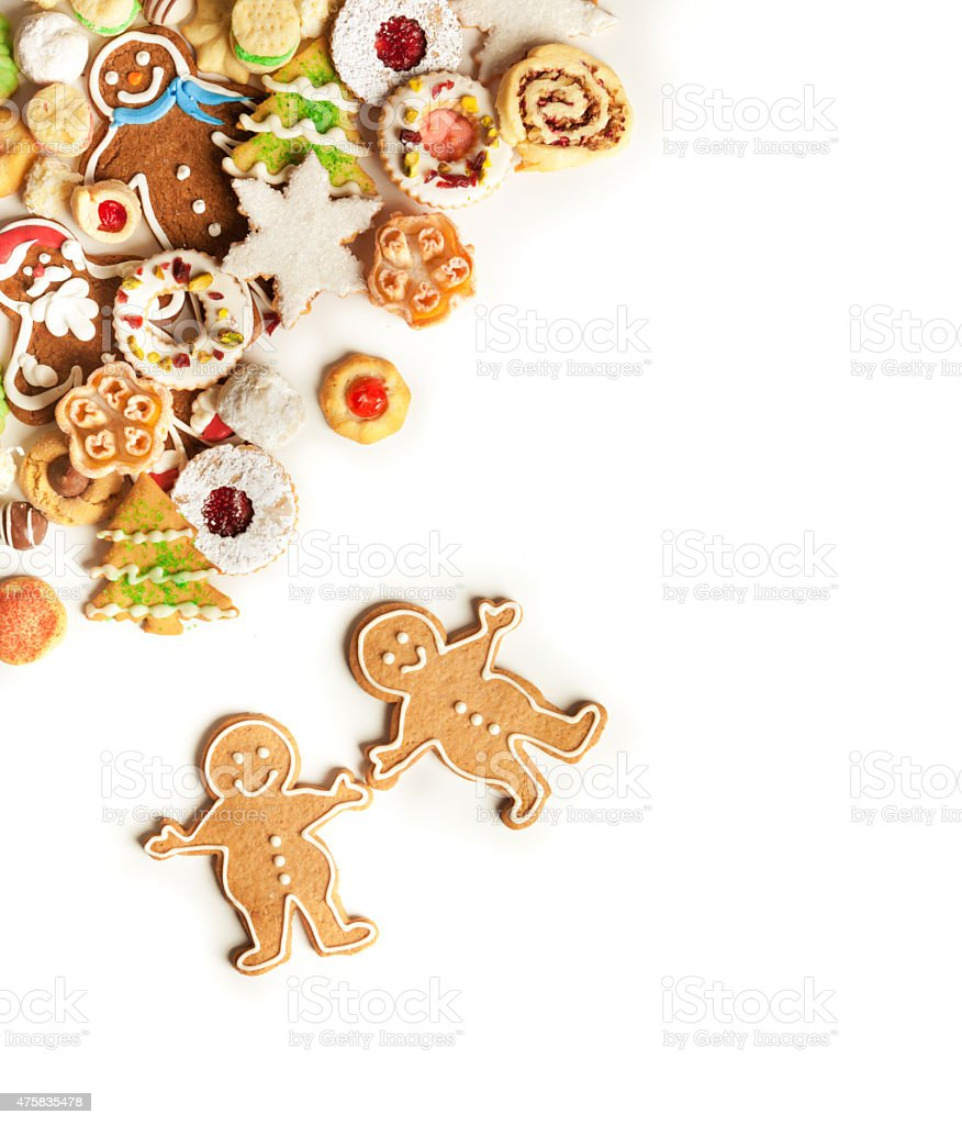 Christmas Cookies Top Corner Frame Border on White Background stock photo