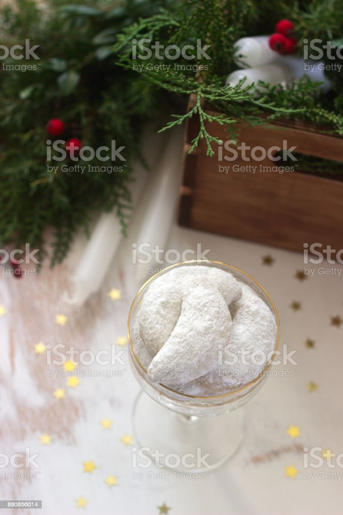 Christmas cookies vanilla crescents in festive decoration. stock photo