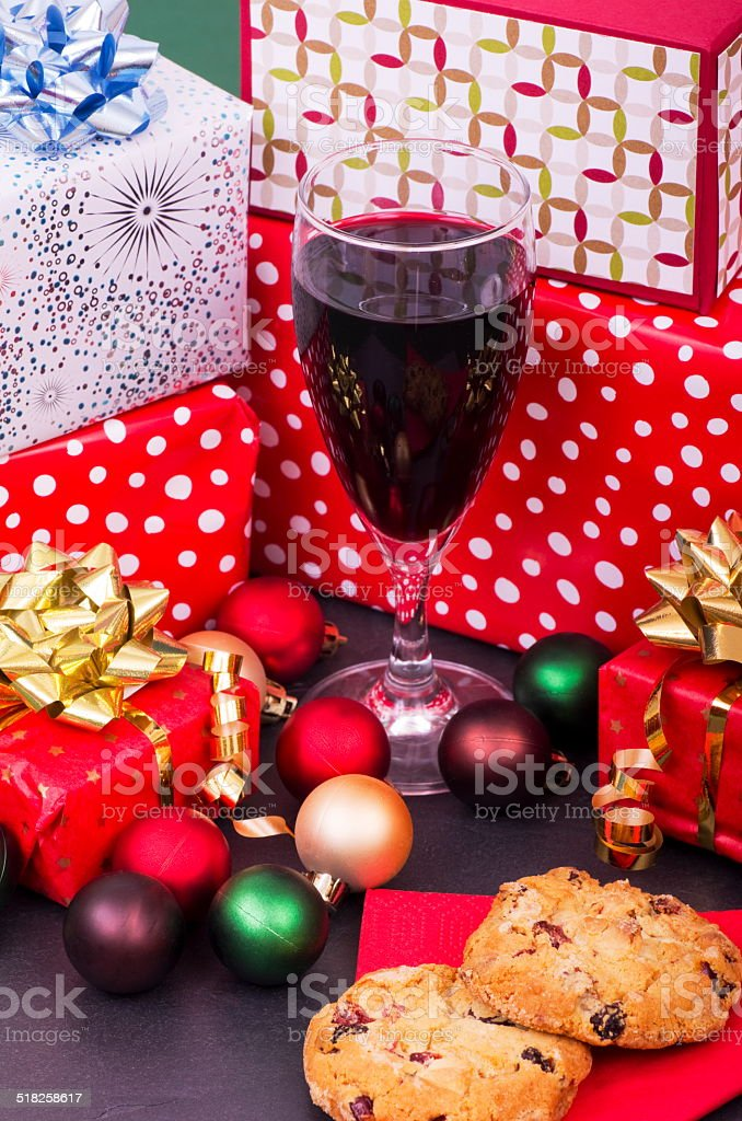 Christmas Cookies Wine And Presents Stock Photo Download Image Now
