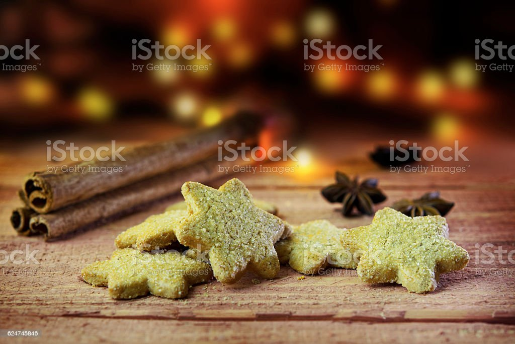 Christmas Cookies With Cinnamon And Anise On Rustic Wood Stock Photo