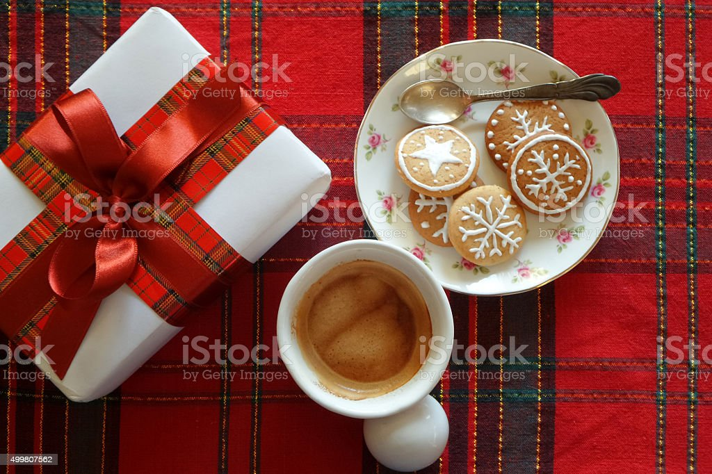 Christmas cookies with coffee cup, top view stock photo