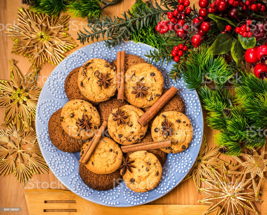 Christmas Cookies With Festive Decoration Plate With Tasty New Year