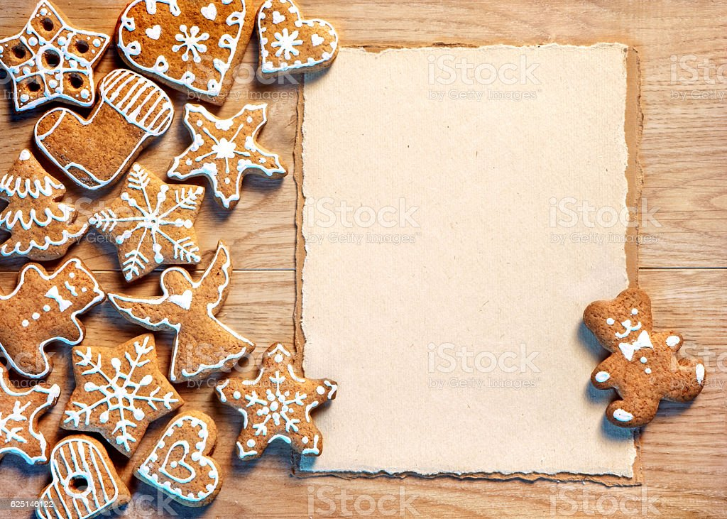 Christmas cookies with paper stock photo