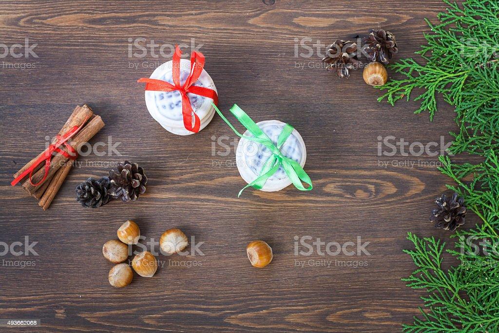 Christmas cookies with ribbons royalty-free stock photo