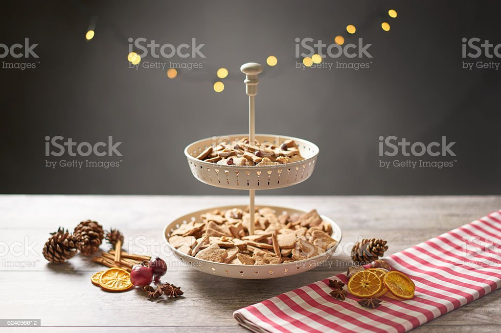 Christmas Cookies with Winter Decoration and Background lights stock photo