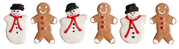 weihnachten lebkuchen mann cookies-und schneemann weihnachten gebackene desserts speisen - backrahmen stock-fotos und bilder
