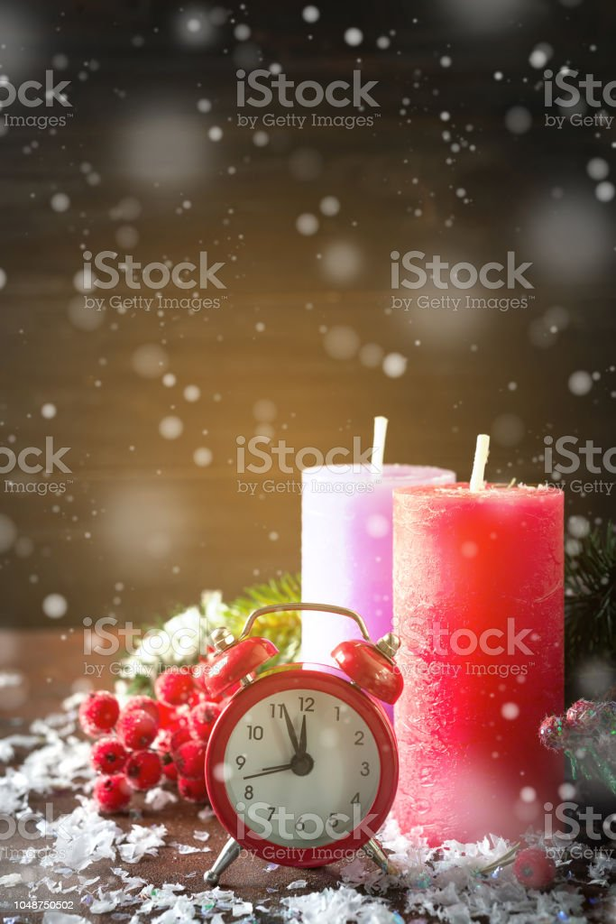 Color Christmas countdown to the new year with snow. Clock...