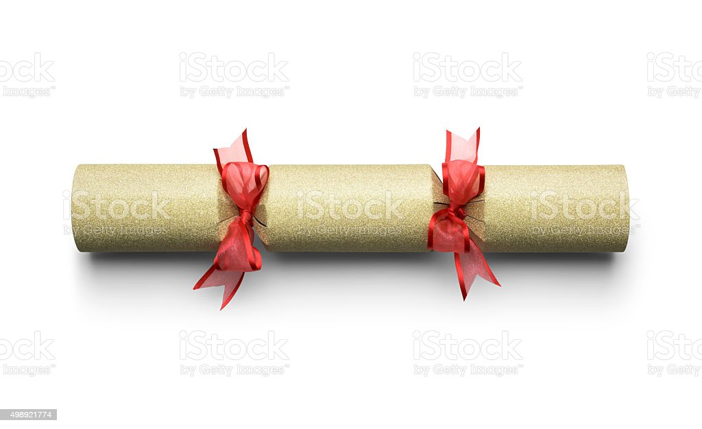 Christmas cracker isolated on white with a clipping path stock photo