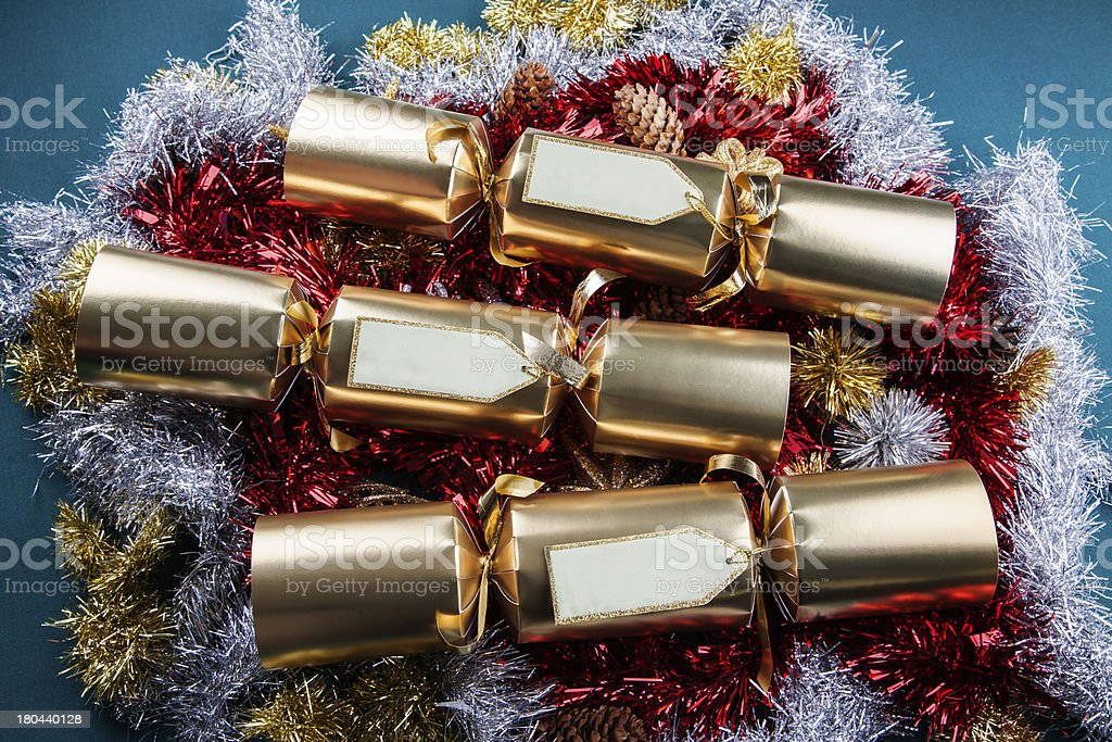 Christmas Crackers with blank labels stock photo