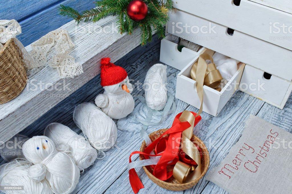 Christmas crafting stock photo