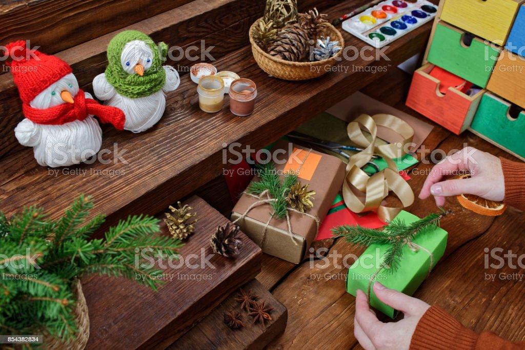 Christmas crafts stock photo